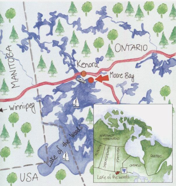 Map Of Kenora Canada.Moore Bay Lodge Lake Of The Woods Ontario Canada